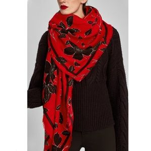 NWT Zara Red Floral Soft Oversized Knit Scarf